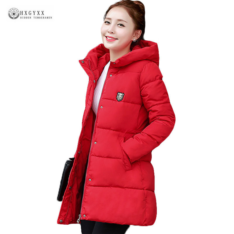 2017 New Fashion Long Winter Jacket Women Slim Female Coat Thicken Parka Warm Cotton Clothing Red