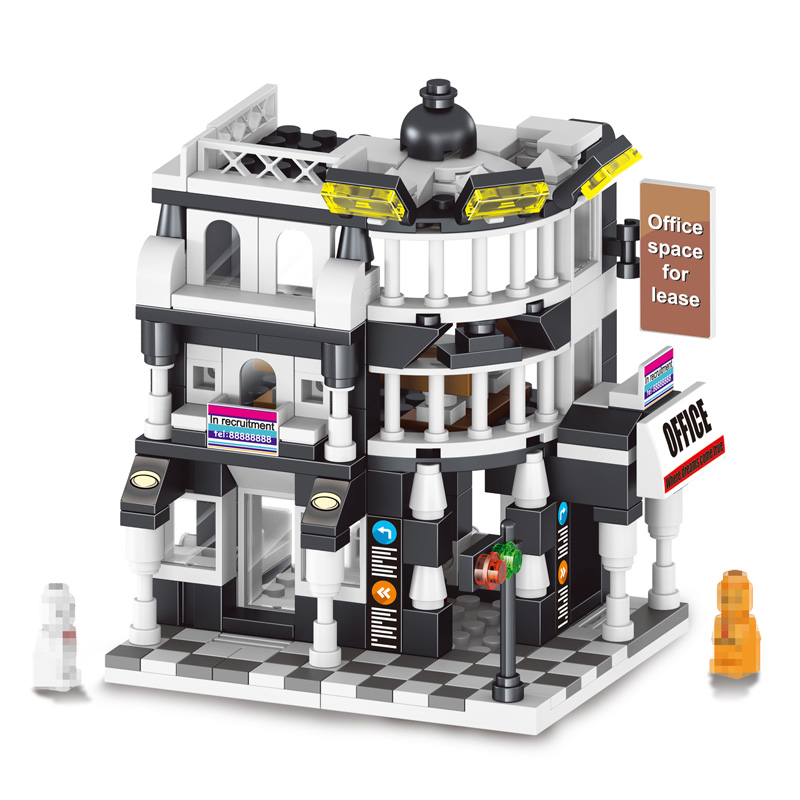 Office Space Mini Street View New Modern Coffee Shop Blocks 7Day Hotel International Building Compatible LegoINGlys Toys Gifts new grub street