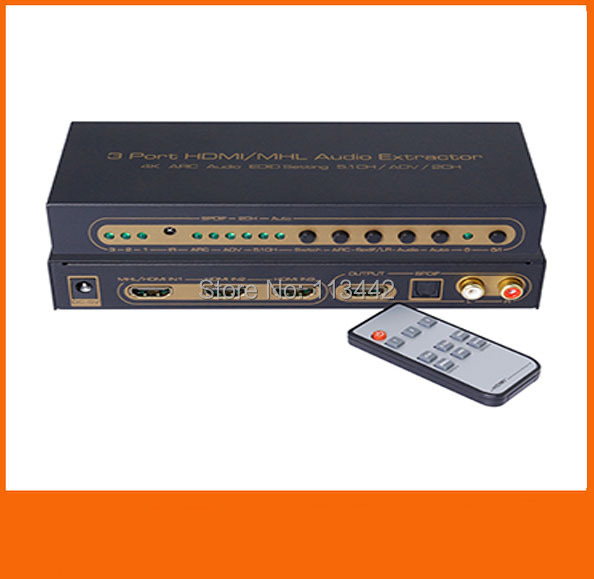 Newest 3 Port HDMI/MHL mhl  Audio Extractor 4K ARC Audio EDID setting 5.1CH/ADV/2CH switcher 3x11.4v 3 in 1 out HDMI switcher