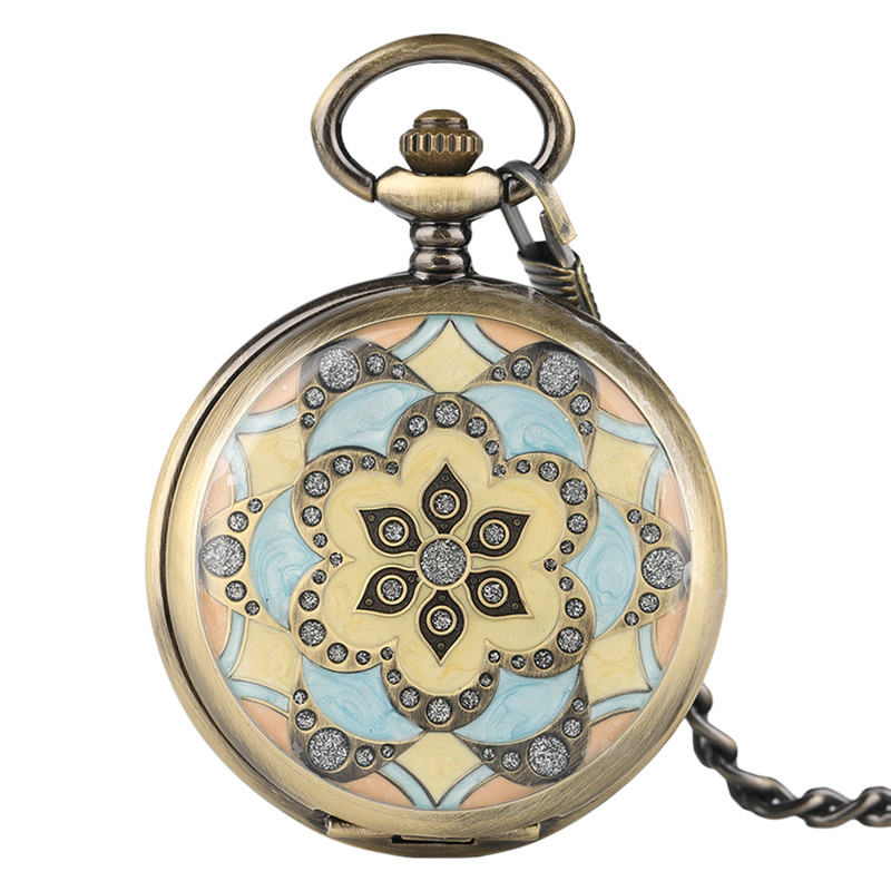 Bronze Mechanical Pocket Watch Men Graceful Ladies Flower Design Roman Numerals Cool Steampunk Hand Wind Pendant Clock Gift