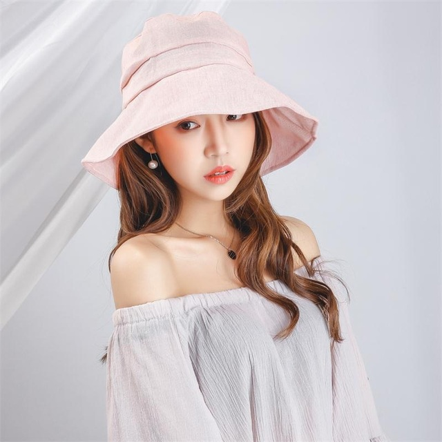 d833ffd35ac 2017 Summer Fashion Women Floppy Linen Bucket Hat With Big Bowknot Wide  Brim Sun Hats Beach Foldable Neck UV Protection Caps