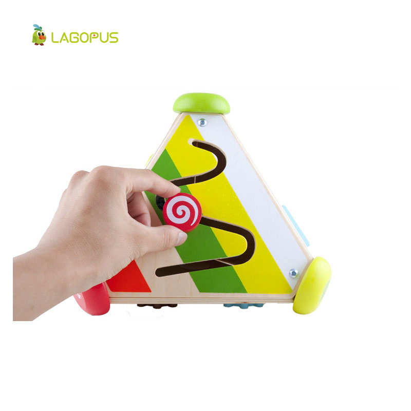 Children s Wooden Toys Baby Puzzle Early Learning Multifunctional Cube Wooden Clockwork font b Music b