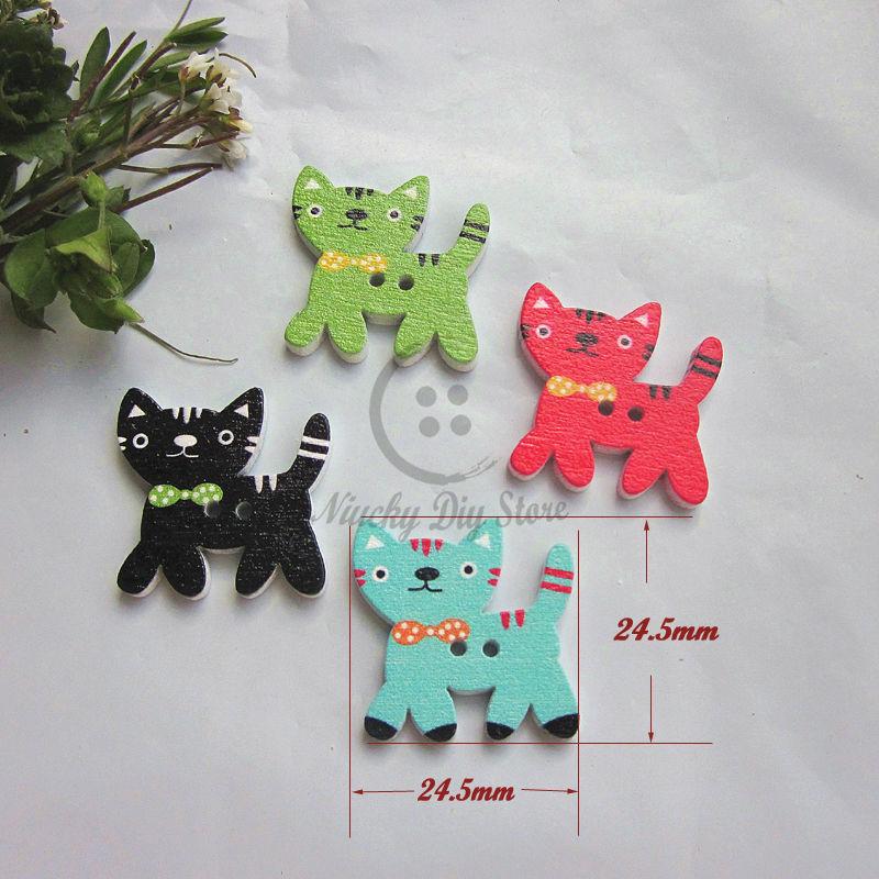 ᗔSerie del gato 60 unids gato mezclado de colores botones de madera ...