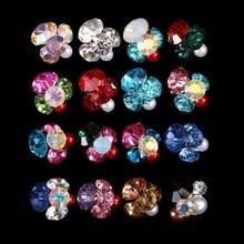 100PCS 3597-3612 Metallic Glitter  Rhinestones Decorated Flower 3D Alloy Nail Charm Cross Jewelry Women