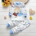 2016 Novo Bebê Infantil Menina/meninos Casacos Vestuário Set Crianças Bonito Dos Desenhos Animados do Sono Pijama Terno Crianças Recém-nascidas Suaves sapatos de Algodão roupa interior