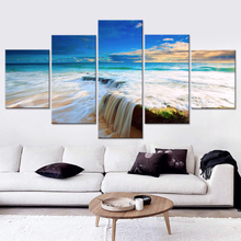 ФОТО canvas prints poster picture hd modular decoration home 5 pieces/set waterfall landscape painting art wall for living room