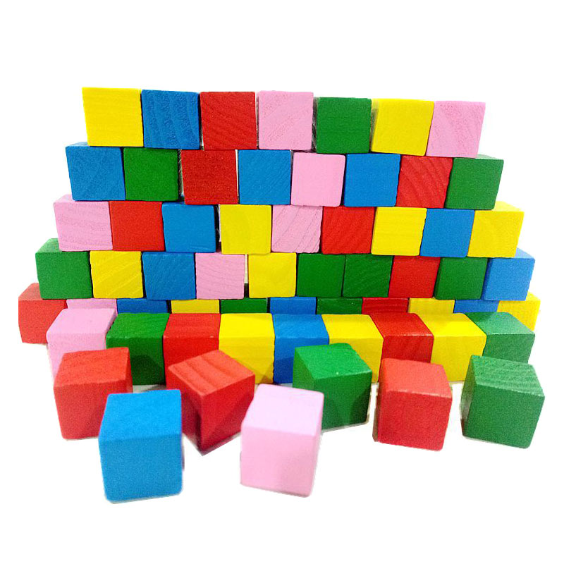 Image 3 - Hot Selling 2cm 20pcs Children Kids Wooden Building Blocks Square Math Teaching Tool Toy Colorful 775-in Blocks from Toys & Hobbies
