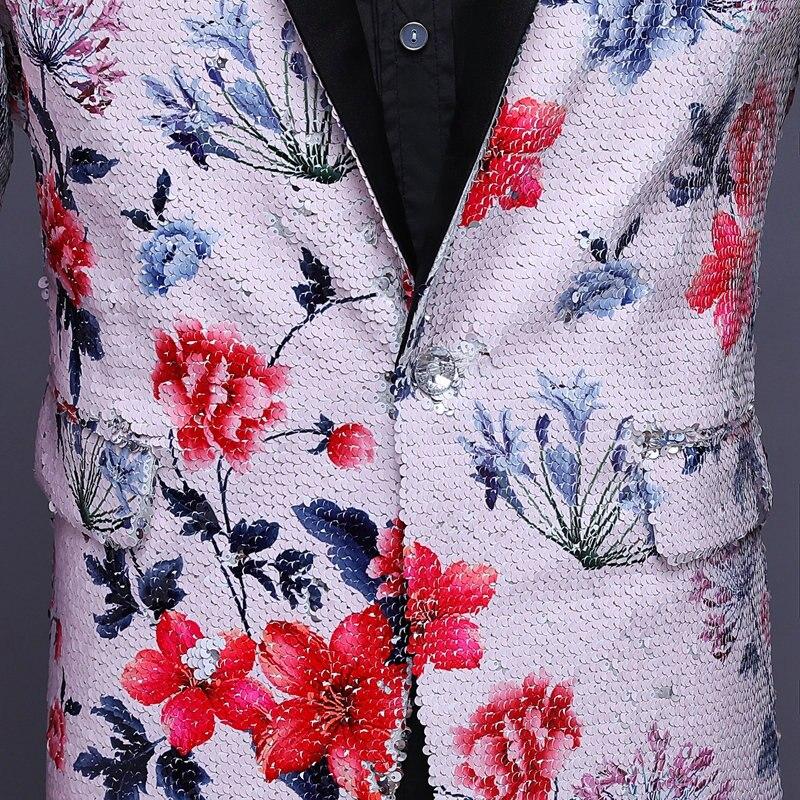 Herren Pailletten Blazer Masculino Verziert Blazer Hombre Blazer Homme Glitter Jacke Männer Floral Anzug Jacke - 6