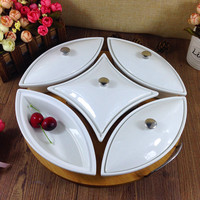 Ceramics Serving Epergne Tray Set Decorative Porcelain Compartment Dining Box Tableware Tray for Fruits, Desserts and Sweets