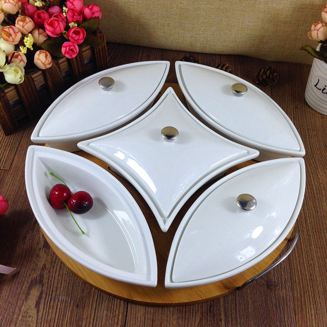 Ceramics Serving Epergne Tray Set Decorative Porcelain Compartment Dining  Box Tableware Craft For Fruits, Desserts