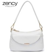Zency Women Shoulder Bag 100% Genuine Leather Fashion Summer White Small Bag Lady Messenger Crossbody Purse Simple Black Handbag