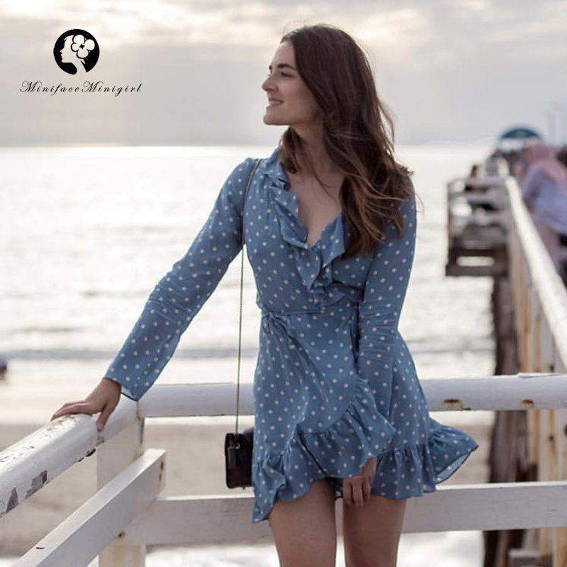 10 Colors Summer Boho Full Sleeveless Women Dress Ruffled Neck Bohemian Style Dress Mini Beach Party Dresses Vestidos 2018