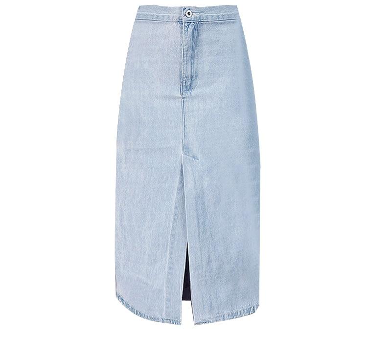 2017 Summer Women High Waist front back split Denim Skirt light Blue Jeans Skirt Vintage Long Skirt Saia Midi Skirt