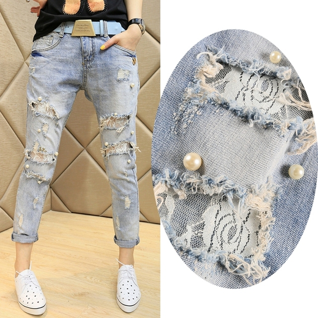 lace beading hole jeans female 2017 women's harem ripped pants female lace jeans women