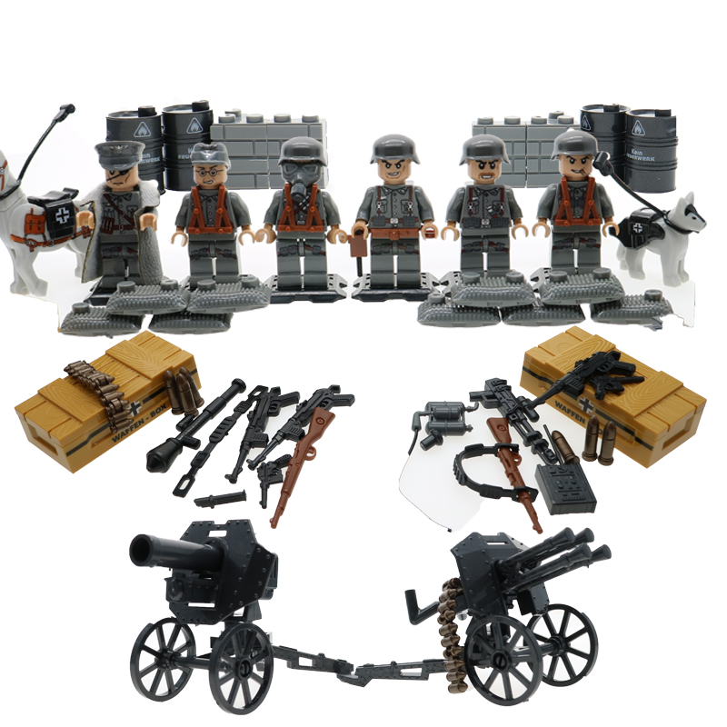 6Pcs WW2 Military Army Soliders Building Brick Set World War 2 Normandy Battle Model Diy Block 71002 Simplified Version new arrival world war ii the battle of taierzhuang military building brick ww2 chinese japanese army figures building block toy