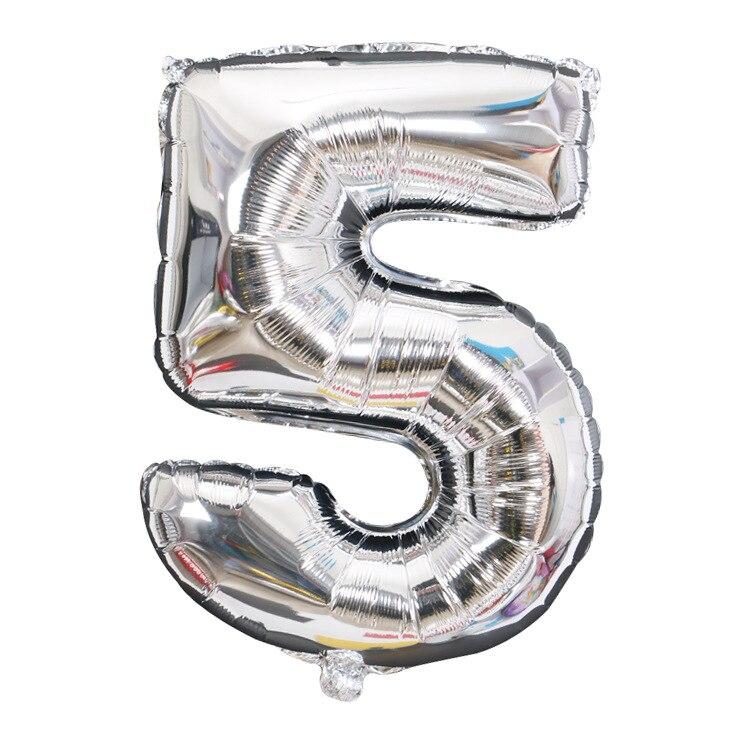 32 дюйма 0-9 Большие Гелиевые цифровые воздушные баллоны фольги детские игрушки на день рождения серебристые золотые розовые вечерние Детские Мультяшные шляпы - Цвет: silver 5