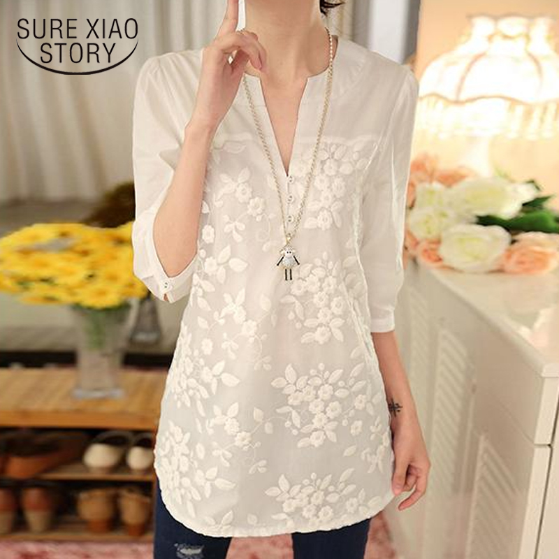 womens tops and   blouse   solid white lace chiffon   blouse     shirt   fashion 2018 new elegant   blouse   women   shirts   clothes blusas 566F 60