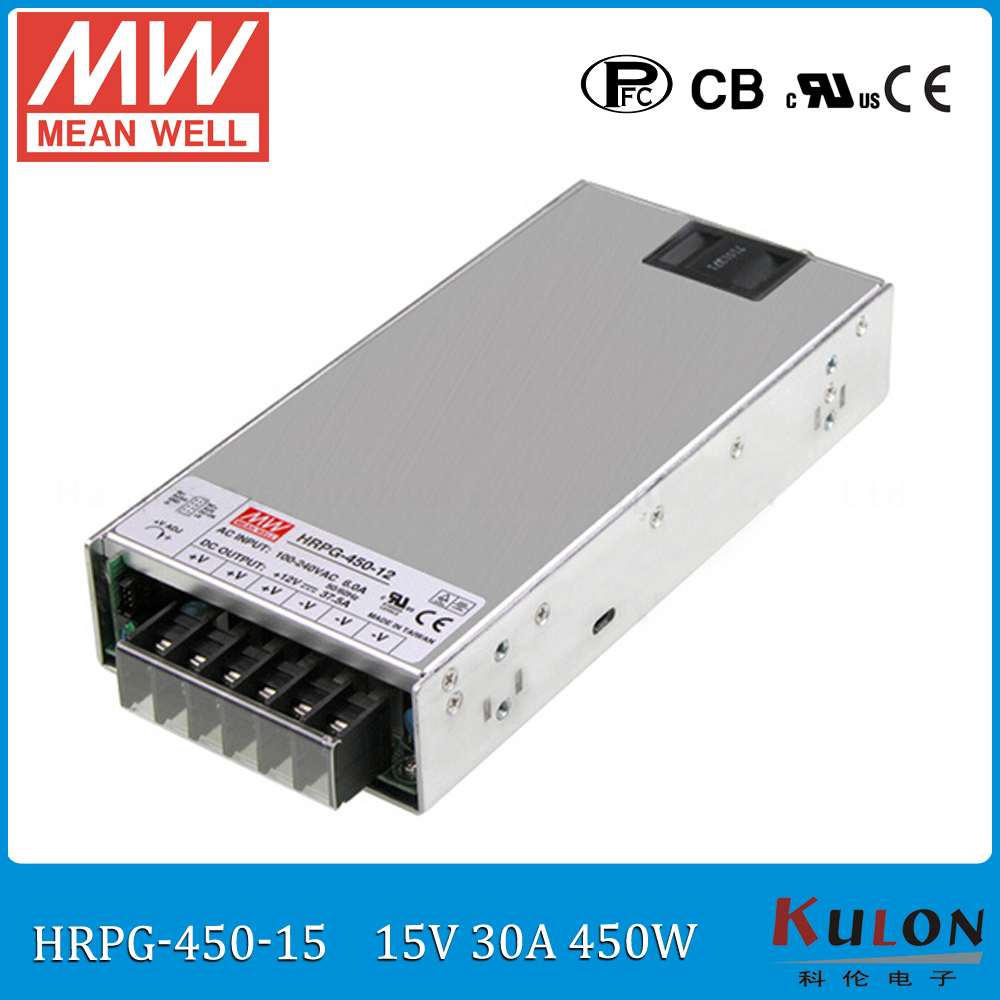 Original MEAN WELL HRPG-450-15 450W 30A 15V Power Supply meanwell low power consumption power supply 15V with PFC function блок питания сервера lenovo 450w hotswap platinum power supply for g5 4x20g87845 4x20g87845