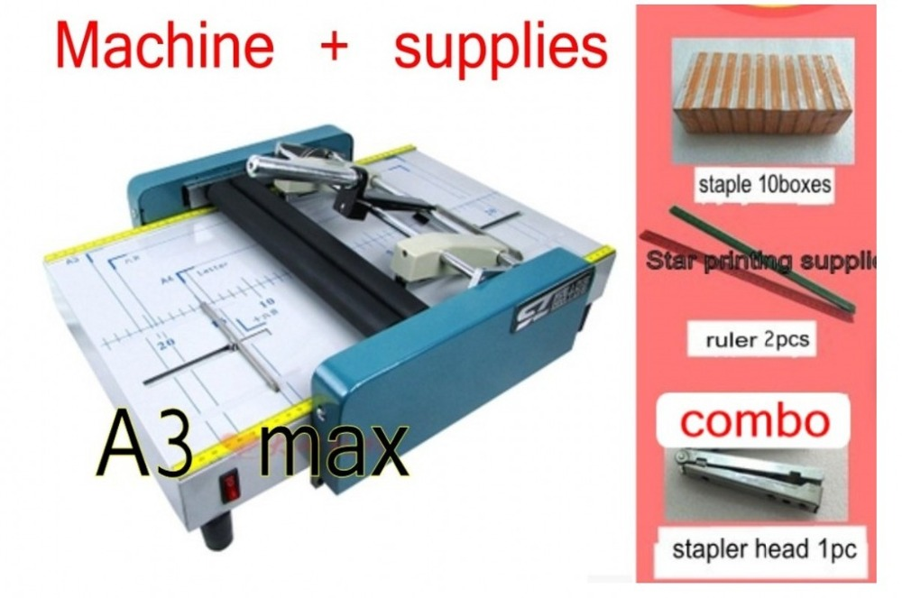 Booklet Pamphlet Broshure Binding Machine Electric Saddle Stapler and Paper Folding Machine 2 in 1 Max A3 size Booklet Maker a3 automatic folding machine electric binding machine saddle stitching folding machine electric stapler 220v 110v1pc