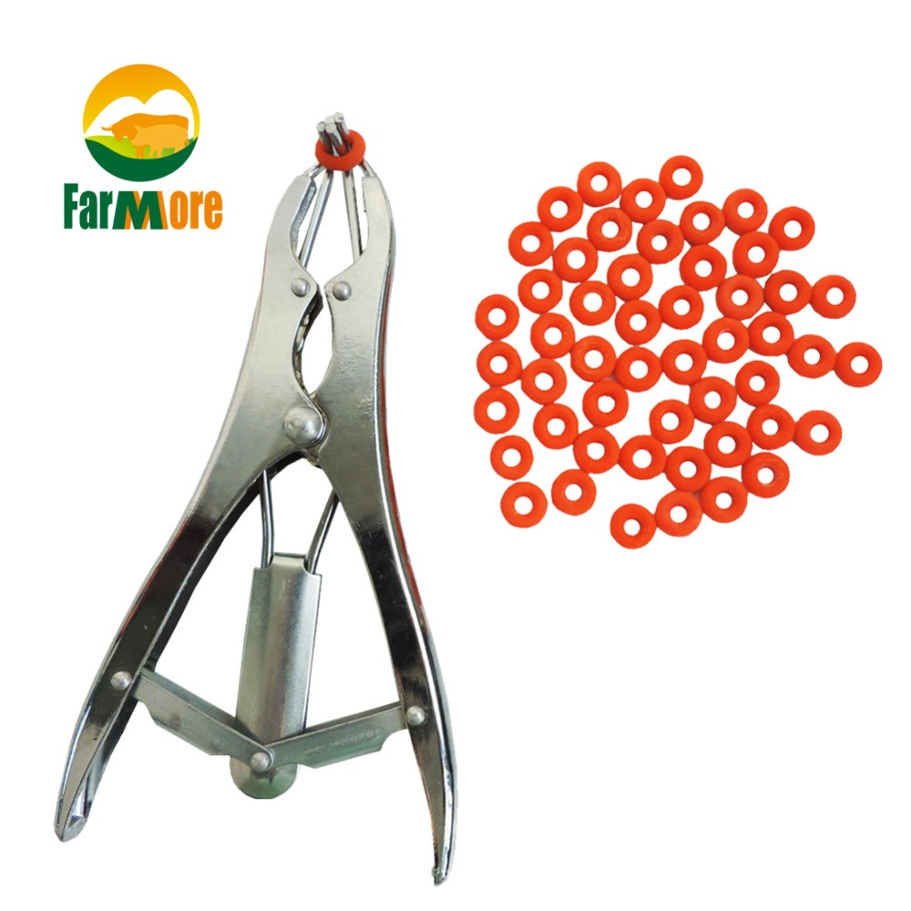 Tail removal Pigs And Sheep Castration Pliers and 100 Particulate Rubber Ring Castration Device
