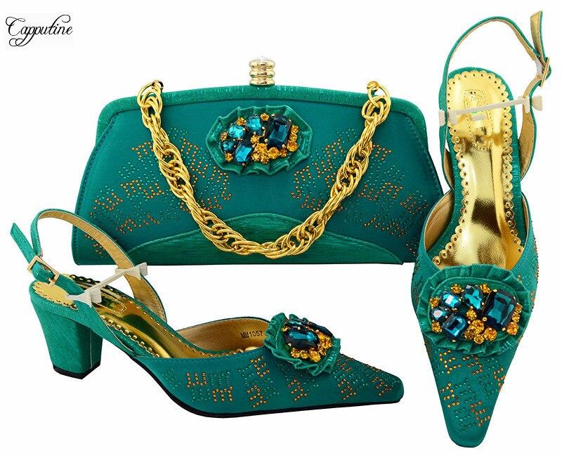Горячая Распродажа бирюзовый цвет туфли-лодочки женская обувь с сумочкой комплект для вечерние mm1057multi цвет