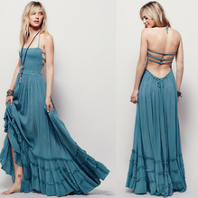 New Summer Women Boho Dress Sleeveless Sexy Strapless Long Dresses Backless Party Hippie Bandage Beach Dress Vestidos Z81