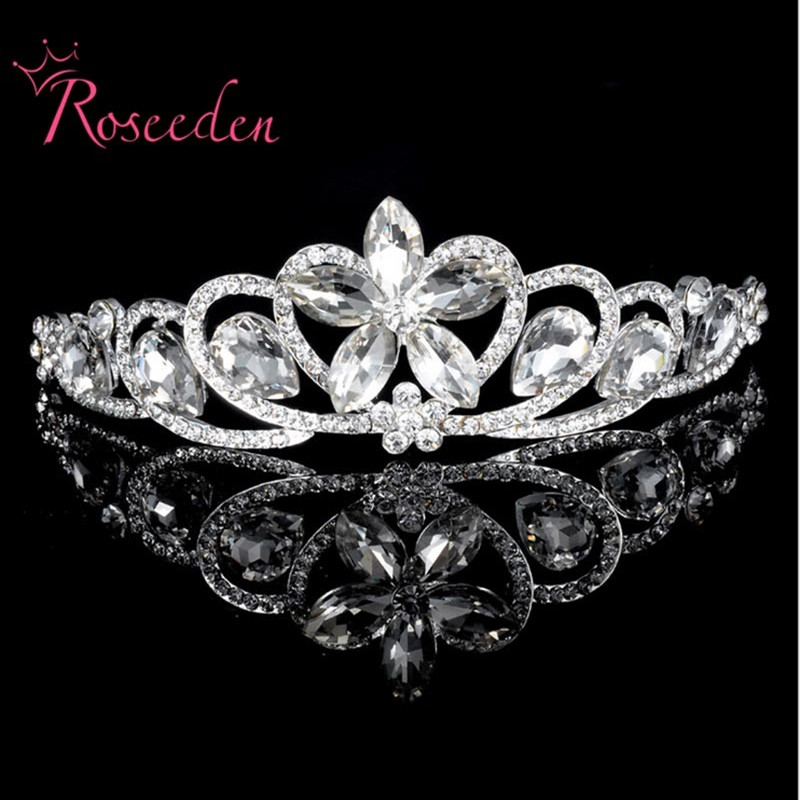 Womens Rhinestone Crown Hairband Crystal Bridal Tiara Wedding Accessory Women Party Pageant Flower Jewelry Silver Plated RE65