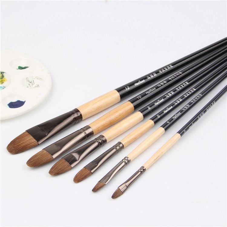 High-grade 6pcs Horsehair Brush Artist Oil Paint Brush Tongue Peak Acrylic Paints Even Number Suit Row Pen Student Stationery