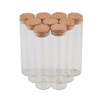 50 pcs 30x100 mm 50ml Flat Bottom Glass Tube Bottles With Corks Empty Scented Tea Jars Containers Wishing Stars Vials