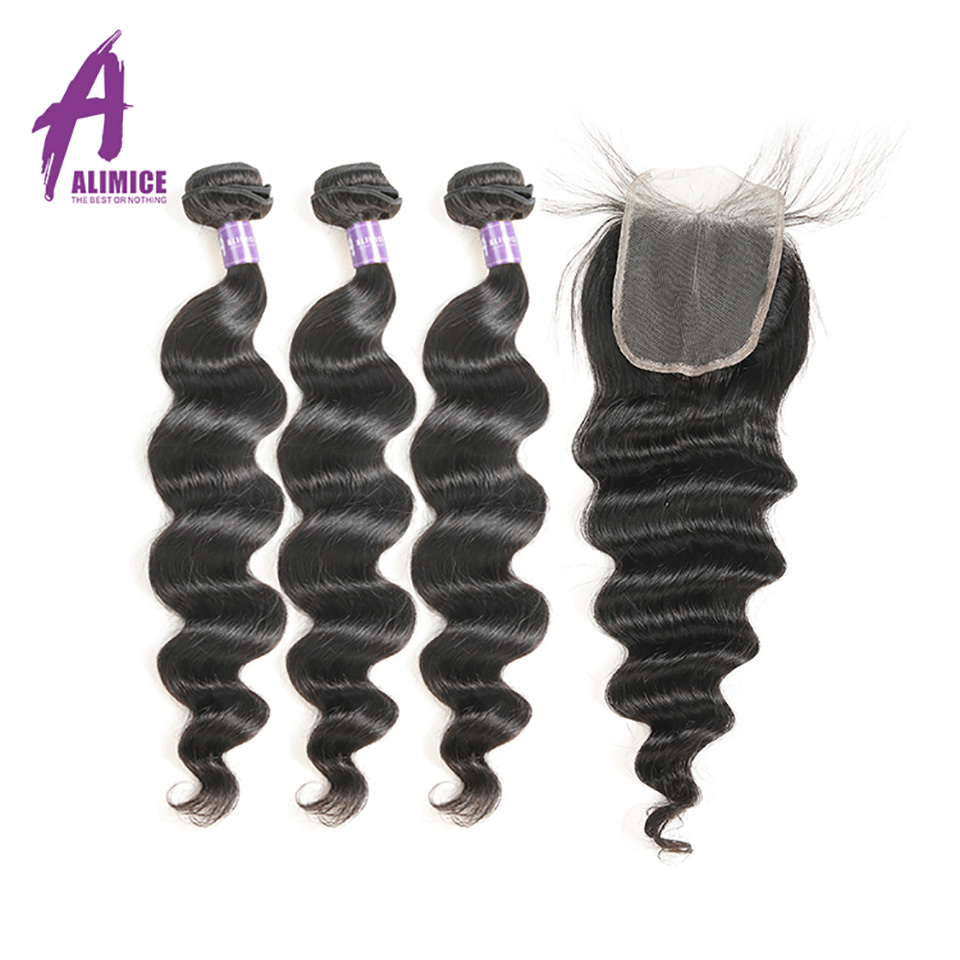 Alimice Brazilian Loose Wave Hair Human Hair Bundles With Lace Closure 3 Bundles Hair Weft With Closure Non Remy Hair Extensions