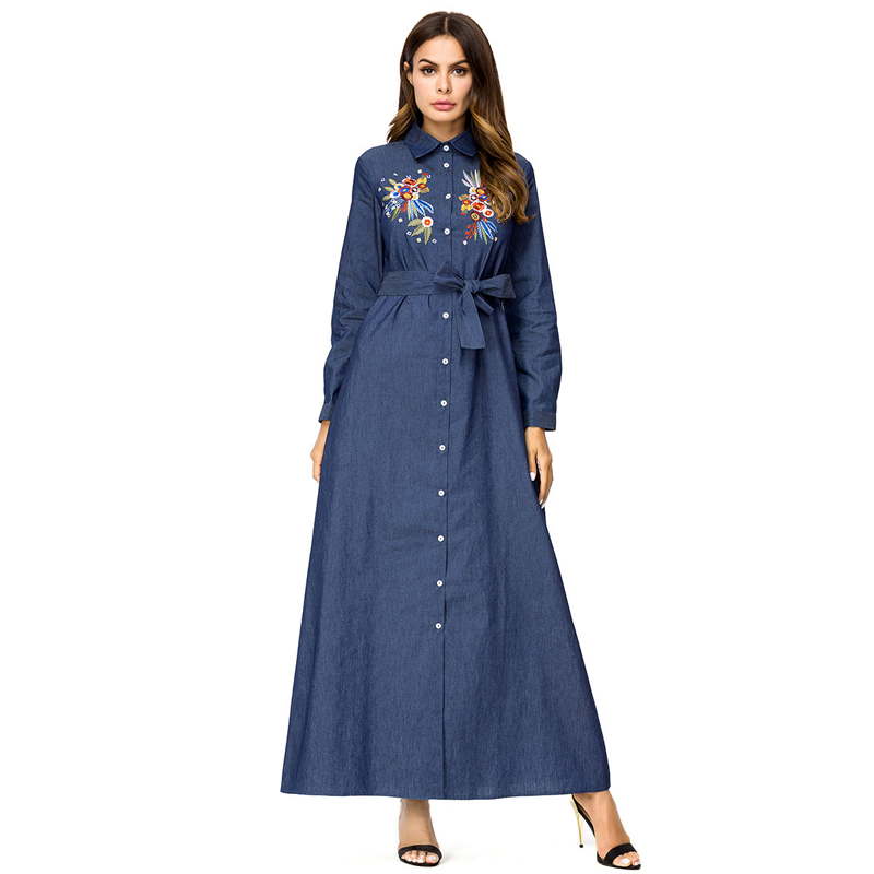c3e955bde6c MISSJOY Fashion Abaya Dubai Shirt Denim Dress abaya Belt Turkis Embroidery  Long Sleeve Flower Casual Maxi Dress caftan marocain-in Islamic Clothing  from ...