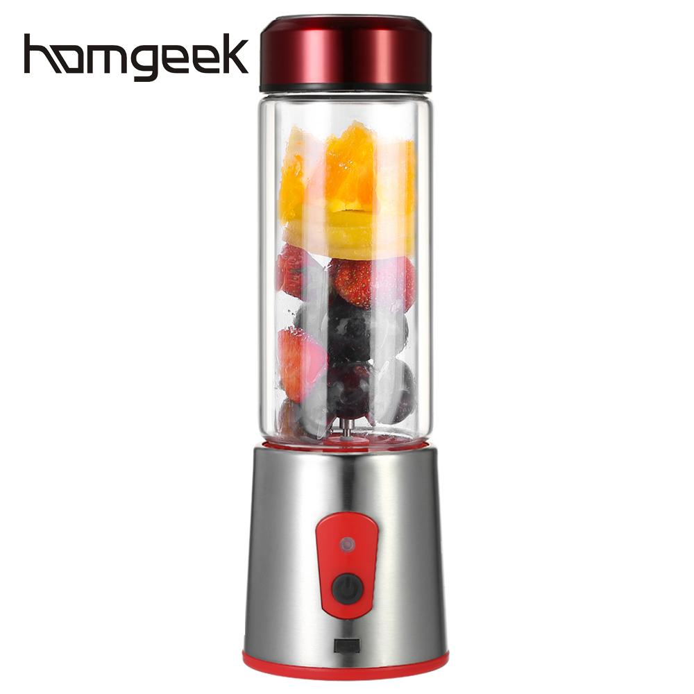 Homgeek 350ml Multi function Juicer Personal Size Blender Handy Portable Chargeable Electric Juice Cup Glass Mini