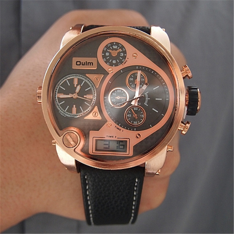 Brand OULM 9316B Japan Movt Big Face Watches Men Triple Time Rose Gold Luxury Analog Digital Casual Watch Relogio Male Original big face original oulm 9316b brand japan movt quartz dz watch large men dual time male imported reloj hombre relogio masculino