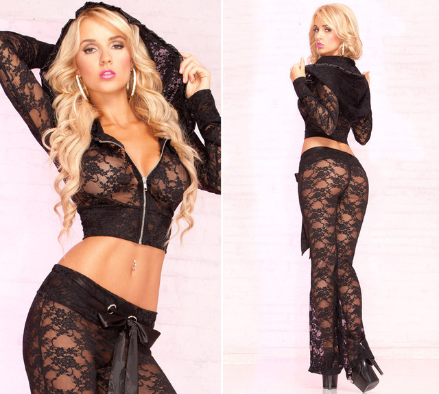 1097e0c99 Plus size sexy Lady pajamas lingerie sets see-through long sleeves lace  black