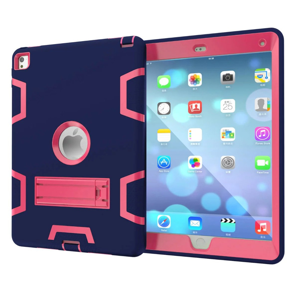 Fashion Hot sell Hybrid Armor Case for ipad 5/ari Kids Safe Shockproof Heavy Duty Silicone Rubber Hard PC Stand Back Case Cover