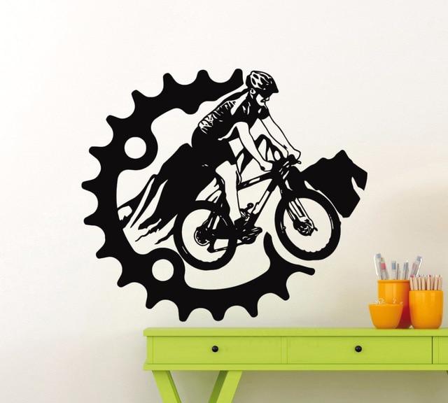 mountain bike wall sticker sport bicycle vinyl decal home garage room interior decoration. Black Bedroom Furniture Sets. Home Design Ideas