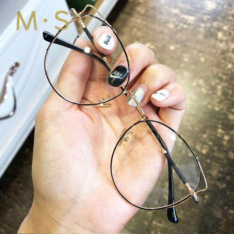 Women Designer Glasses Frame 2018  Glasses Frame  Retro Vintage Cat Eye Round Circle Women Gold Frame Glasses