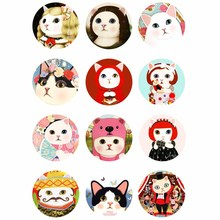 10mm 12mm 14mm 16mm 20mm 25mm 352 12pcs/lot Cat Mix Round Glass Cabochons Jewelry Findings 18mm Snap Button Charm Bracelet