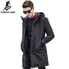 Pioneer Camp longo inverno algodão revestimento do outono Jaqueta roupa masculina dos homens da marca New top quality preto para baixo Parkas homens 611801