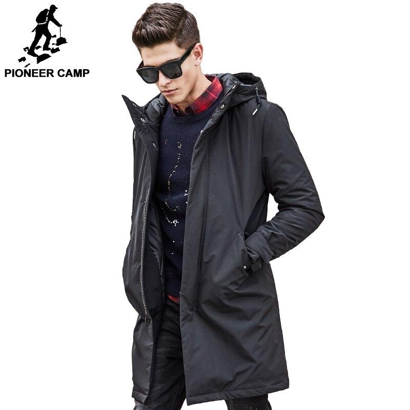 Pioneer Camp longo quentes homens Jaqueta de inverno da marca à prova d' água roupas de primavera do sexo masculino de algodão de qualidade casaco preto para baixo Parkas homens 611801