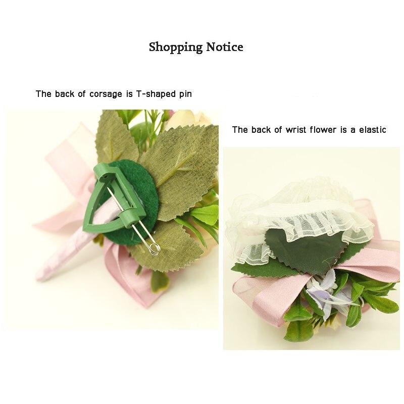 YO CHO Wedding Planner Boutonniere White Wrist Corsage Bracelet Bridal Flower Wedding Boutonniere for Guests Mariage Accessories 5