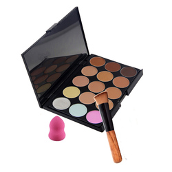 15 colors concealer palette cream makeup sets with powder brush pincel maquiagem water sponge puff separately.jpg 250x250
