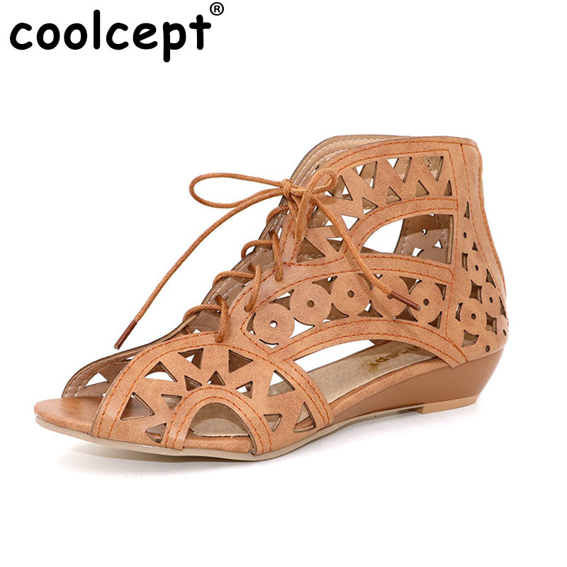 Coolcept Size 34-43 Women Flats Sandals Open Toe Low Wedges Bohemian Summer Shoes Beach Shoes Women Cutouts Lace Up Footwear sgesvier fashion women sandals open toe all match sandals women summer casual buckle strap wedges heels shoes size 34 43 lp009