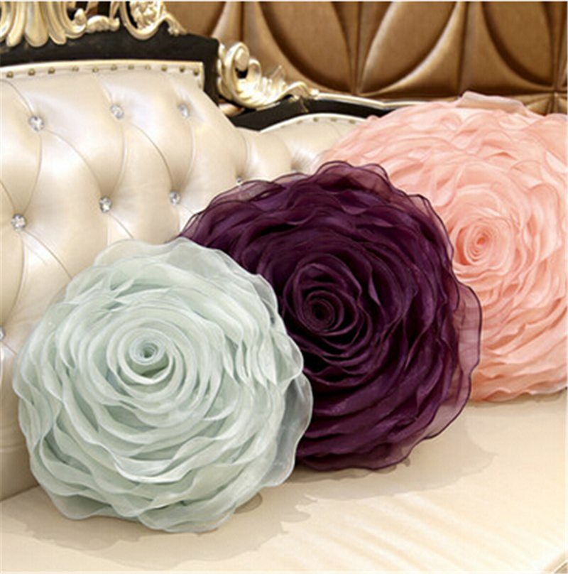 Cushion Cover Organza 3D Handmade Flowers Roses Round Pillow Romantic  Wedding Gifts In Cushion From Home U0026 Garden On Aliexpress.com   Alibaba  Group