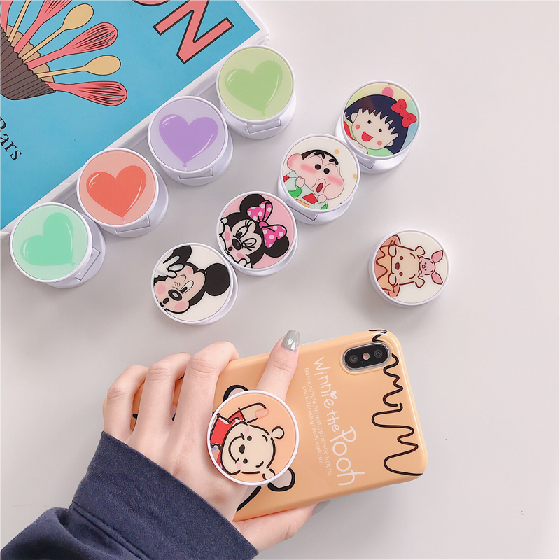 TJHSZKL Cute Cartoon Mickey Pattern Round Universal Telescopic Bracket And Grip Ring Bracket Mobile Phone Folding Bracket