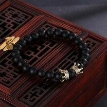 HOBBORN Trendy Women Beads Bracelet 8mm Natural Black Matte Onyx Handmade Strand Healing Crown Charm Men Bracelets Yoga Pulsera