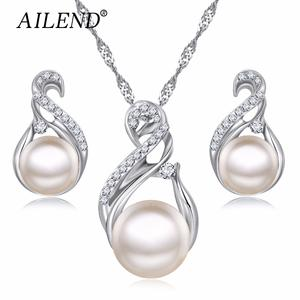 AILEND Jewelry-Sets Earrings Simulated Collier Pearl Wedding-Silver-Color Women Trendy
