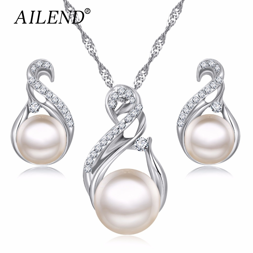 AILEND Trendy Jewelry Sets Wedding Silver Color Earrings Simulated Pearl Jewelry Set Women Necklace Set Bijoux collier brincos