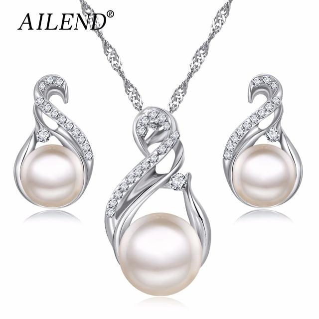 AILEND Trendy Schmuck Sets Hochzeit Silber Farbe Ohrringe Simulierte Perle Schmuck Set Frauen Halskette Set Bijoux collier brincos