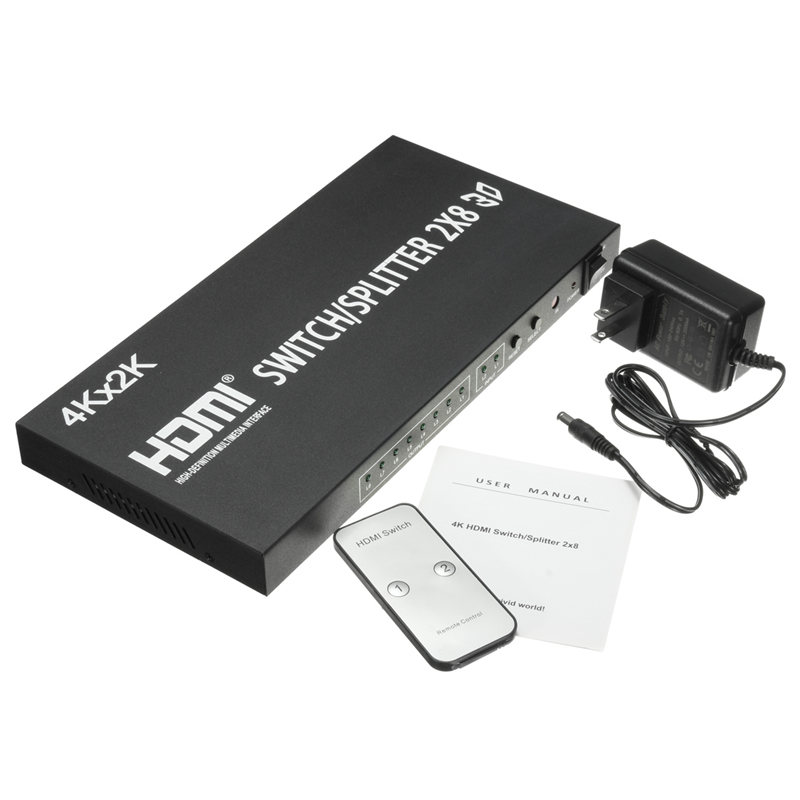 Wholesale Professional HD Video 3D 4K 2x8 Port Black Metal HDMI Switch Switcher Splitter Remote For PS3 For Xbox DVD TV Box HDTV  3 port 1080p video hdmi switch switcher splitter for hdtv ps3 dvd ir remote un2f 100% new high quality